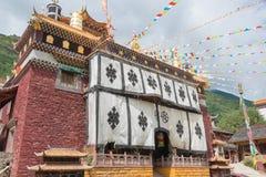 四川,中国- 2014年7月17日:金岗修道院 著名Lamase 库存照片