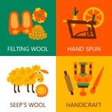 四平的羊毛毡合概念 免版税库存照片