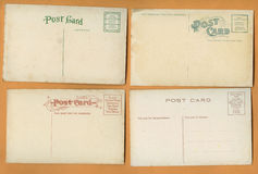 四张空白的老明信片 图库摄影