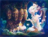 四张面孔精神神圣的树,美好的幻想五颜六色的绘画 免版税库存照片