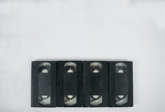 四录象带在白色背景的磁带大模型 免版税图库摄影