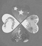 四心脏作为一张抽象拼贴画 库存图片