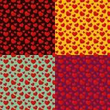 四心脏无缝的样式 免版税库存照片