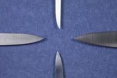 四把刀子银色刀片 库存图片