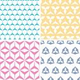 四抽象geraldic几何桃红色无缝 免版税库存照片