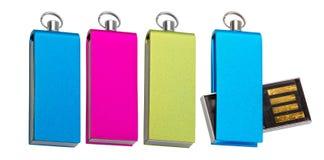 四数据存储的不同色的USB棍子 免版税库存照片