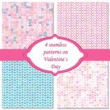 四无缝的样式在情人节 桃红色和蓝色颜色 不尽的纹理可以为打印使用在织品纸上 库存照片