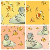 四无缝的纹理用兔子和蜂 免版税库存照片