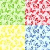 四无缝的蝴蝶图案 免版税库存图片