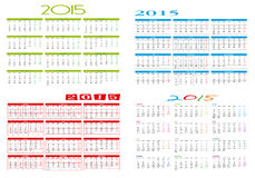 四本不同日历2015年 免版税库存照片