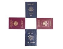四本护照 图库摄影