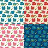 四朵五颜六色的花无缝的样式 库存例证