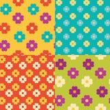四朵花无缝的样式 向量例证