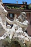 四条河的喷泉细节在Navona 库存照片