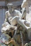四条河的喷泉细节在Navona 库存图片