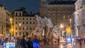 四条河timelapse的喷泉,纳沃纳广场罗马, Fontana di Quattro Fiume,贝尔尼尼大理石雕塑 股票录像