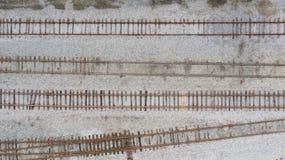 四条火车轨道从上面 库存图片