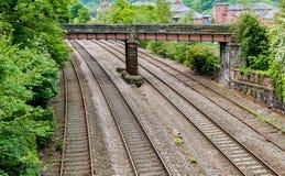 四条铁路轨道 库存图片
