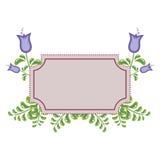 四棵会开蓝色钟形花的草和框架 免版税图库摄影