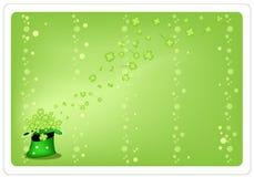 四棵叶子三叶草绿色背景在绿色帽子的 图库摄影