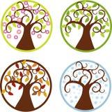 四棵季节树例证 免版税库存照片