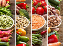 四棵豆类和菜拼贴画  免版税库存图片