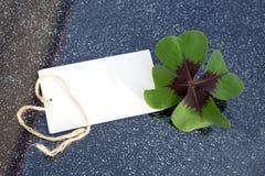 四片叶子三叶草和假日卡片 库存照片