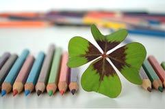 四片叶子三叶草和色的铅笔在桌上 免版税库存图片