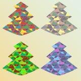 四种颜色华丽x-mas树 库存照片