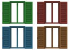 四窗口开放与色的威尼斯式快门,特写镜头前面v