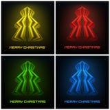 四色的抽象圣诞树时髦设计 图库摄影