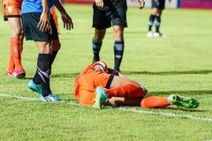 四色菊THAILAND-MAY 21 :Viang在四色菊FC的Santirat (orang 免版税库存图片