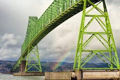 四英里长Megler桥梁在Astoria俄勒冈 图库摄影