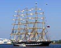 四被上船桅的三桅帆Krusenstern,里加(拉脱维亚) 免版税库存图片