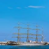 四被上船桅的三桅帆Kruzenshtern 库存图片