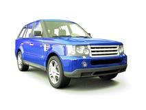 四轮蓝色汽车的驱动器 库存照片