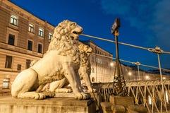 四头狮子桥梁 圣彼德堡 免版税库存图片