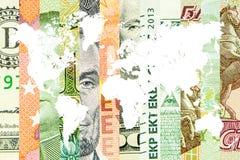 四主要货币在世界上 图库摄影
