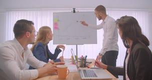 四collleagues会议画象在户内办公室 得出在whiteboard和提出的商人一张图表 股票录像