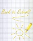 回到与一支黄色铅笔的学校背景 库存图片