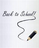 回到与一支黑铅笔的学校背景 图库摄影
