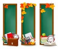 回到与学校用品的学校三横幅 免版税库存照片