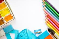 回到与学校项目的学校概念 免版税库存图片