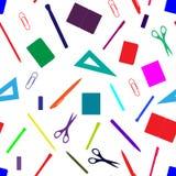 回到与手拉的学校用品、书和文具的学校无缝的样式 线,多角形,剪,笔记本,笔, penc 皇族释放例证