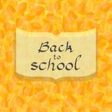 回到与秋叶背景的学校卡片,在传染媒介 库存照片