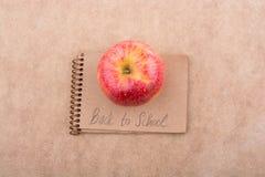回到与笔记本的学校字法 免版税库存照片