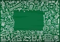 回到与纹理的校旗框架从教育、科学对象和办公用品线艺术象在绿色 库存例证