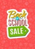 回到与颜色象征包括的标志销售的学校卡片在稀土 免版税库存照片