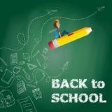 回到例证学校 在铅笔的儿童飞行在黑板 皇族释放例证