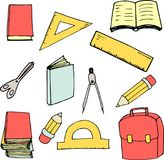 回到在动画片样式的学校元素 伟大为印刷品、卡片设计、织品或者墙纸 库存例证